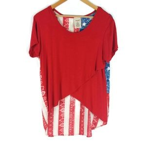 Marci American Flag Overlapping Front Tunic Top XL
